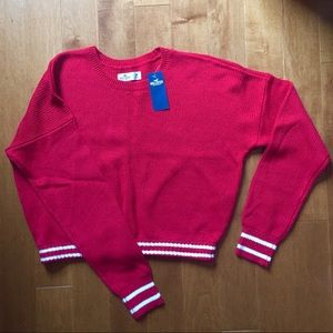 Hollister Cropped Red Sweater with White Stripes